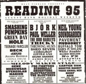 reading festival 1995 line up; hole, green day, foo fighters