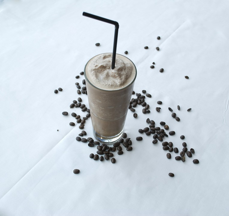a frappe with coffee beans