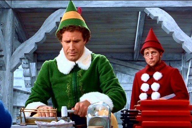 Buddy the Elf in Santa's workshop - christmas movies